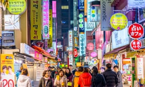 Nightlife in Seoul's Myeong-Dong district.
