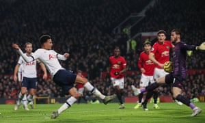 Dele Alli scores past David de Gea after deceiving Fred and Ashley Young with a sublime first touch on a dropping ball.