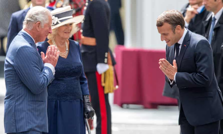 Prince Charles and the Duchess of Cornwall greet Emmanuel Macron in London