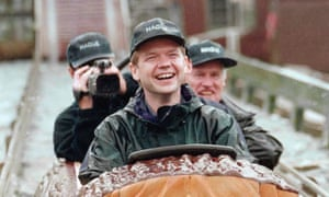 William Hague on a water slide at the Flambards theme park in Cornwall in 1997