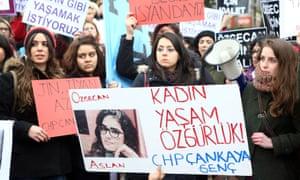 A demonstration in Ankara, Turkey, in February after the murder of Özgecan Aslan.