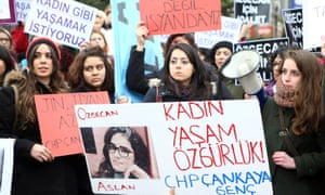 Women protest in Ankara February 2015 over the Turkish government's inadequate response to the murder and alleged rape of Özgecan Aslan.