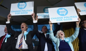 Nigel Farage, left, Ann Widdecombe, right, and other Brexit party candidates at a rally near Pontefract.