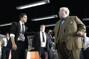 Dominic Cooper, James Corden and Richard Griffiths in The History Boys at the Lyttelton, 2004.