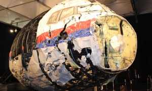The reconstructed front of the Malaysia Airlines plane that was downed by a missile over Ukraine, killing 298 people, at Gilze-Rijen air force base, the Netherlands.