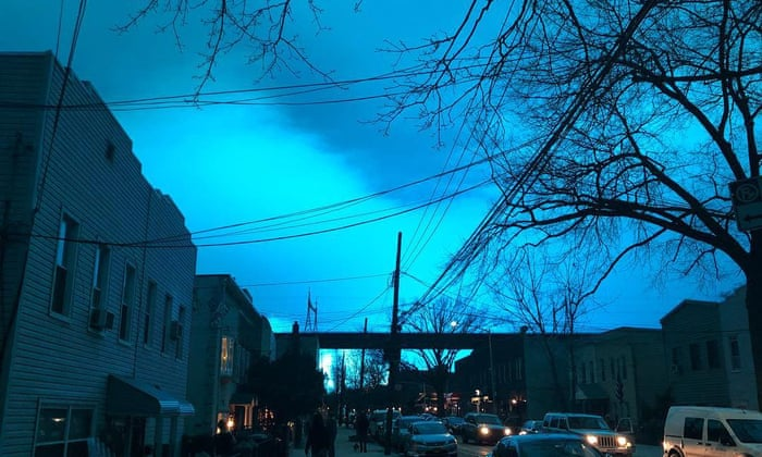 New York City sky lights up bright blue after Queens power