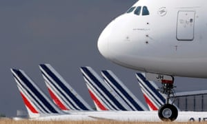 An Air France Airbus A380 aircraft arrives at Charles de Gaulle airport after its retirement flight, in Roissy, near Paris.