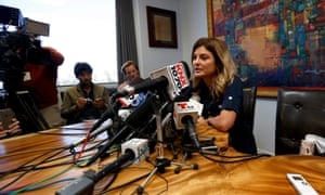Lawyer Lisa Bloom, representing the woman accusing Donald Trump, speaks to media on 2 November.