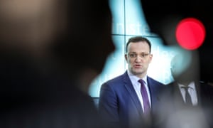 German Health Minister Jens Spahn holds a press conference after a meeting at the Health Ministry in Berlin.