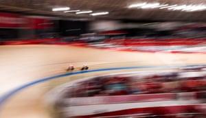 Polish cyclists Marlena Karwacka and Urszula Los compete in the women's team sprint qualifying.