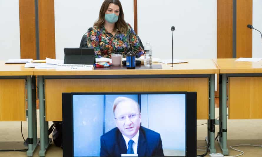 The CEO of Sky News Australia Paul Whittaker appears via videolink watched by the chair of the Media Diversity in Australia inquiry senator Sarah Hanson-Young