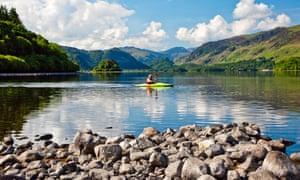 Canoeist on Derwentwater in the Lake District