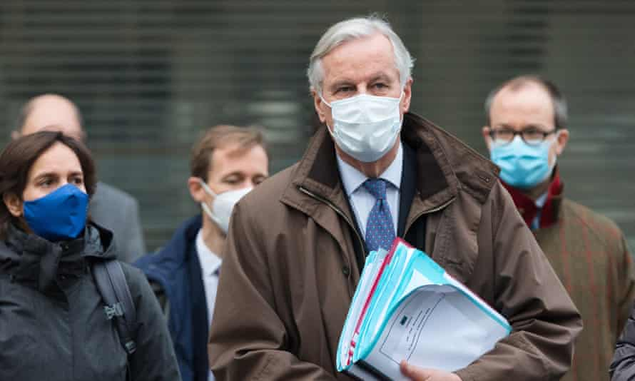 The EU chief negotiator, Michel Barnier, arriving at the venue for Brexit talks in Westminster, London.