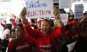 Demonstrators hold a rally in Bangkok in January demanding the general election not be postponed.