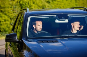 Christian Fuchs and Robert Huth arrive at Vardy's home.