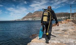 A poacher prepares to dive near Cape Town