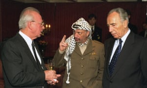 The Oslo Diaries - film still Yitzhak Rabin, Yasser Arafat and Shimon Peres