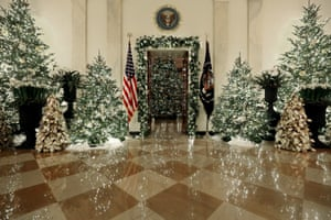 Christmas decorations in the Grand Foyer at the White House on 2 December 2019 in Washington DC.