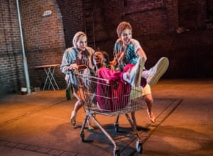 Liz White, Lemn Sissay and Faye Marsay in Road by Jim Cartwright, directed by John Tiffany, in 2017.
