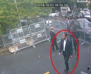 A still image from surveillance camera footage
