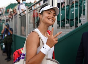 Raducanu leaves the court after victory against Markéta Vondroušová in the second round at Wimbledon