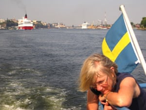 Fast forward 14 years and I returned to Sweden with my mum to research my third book, Sunkissed. The day before I had stopped teaching and I was now a full-time writer. In Sunkissed, Kat is sent by her parents to spend the summer on a tiny Swedish island. This is Mum as we set off into the archipelago to find Kat's island.
