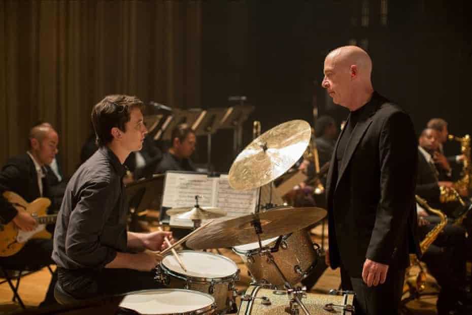 Miles Teller (left) and JK Simmons in Whiplash.