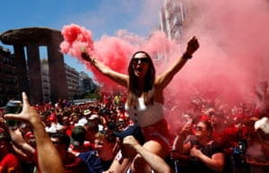 Liverpool fans ahead of the Champions League final in Madrid, Spain