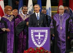 President Barack Obama sings Amazing Grace at the funeral for South Carolina state senator Clementa Pinckney in 2015.