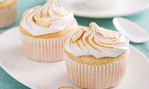 Almond cupcakes with meringue tops fluffy and light