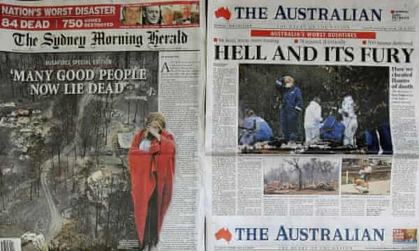 Australian newspaper front pages from Febuary 2009, showing the devastating aftermath of the Victorian bushfires.