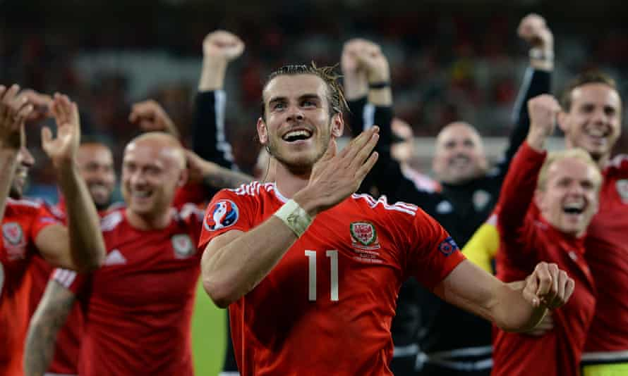 Gareth Bale leads the celebrations after Wales's 3-1 win against Belgium in their Euro 2016 quarter-final in Lille