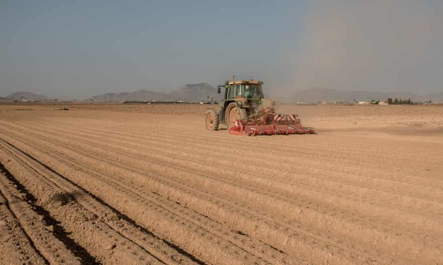 A tractor on arid land in Spain
