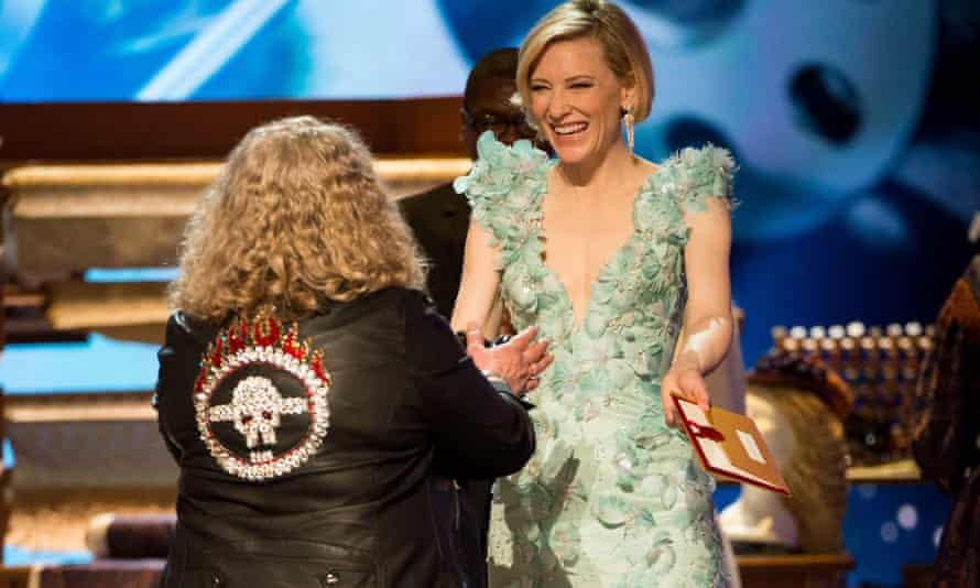A warmer response from Cate Blanchett … but was it because she hadn't seen the back?