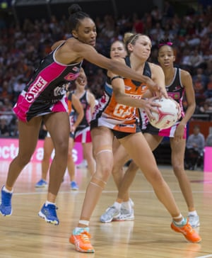 Jo Harten of the Giants during the Round 6 Super Netball match between the GWS Giants and the Adelaide Thunderbirds at Qudos Bank Arena in Sydney.
