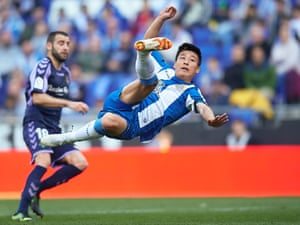 Wu Lei in action for Espanyol against Real Valladolid.