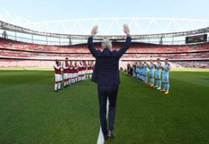 Arsène Wenger walks out for the last time at the Emirates stadium as Arsenal manager before his team beat Burnley 5-0.