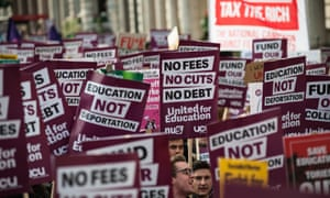 Students and academics demonstrate against tuition fees and cuts in central London in November, 2016