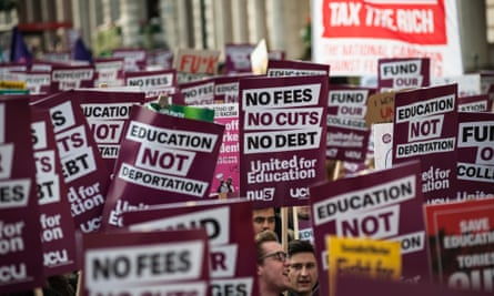Students protest about tuition fee increases in central London last year.