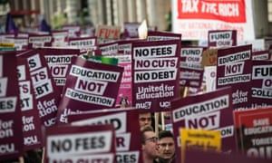 Students demonstrate against tuition fees in central London.