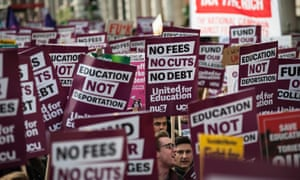 Thousands of students took part in a UCU demo against tuition fee increases in London in 2016.