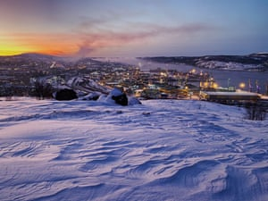 This is Murmansk, the largest city in the Arctic Circle. The picture was taken on 11 December at 11:32am as the sun neared its highest point just below the horizon.