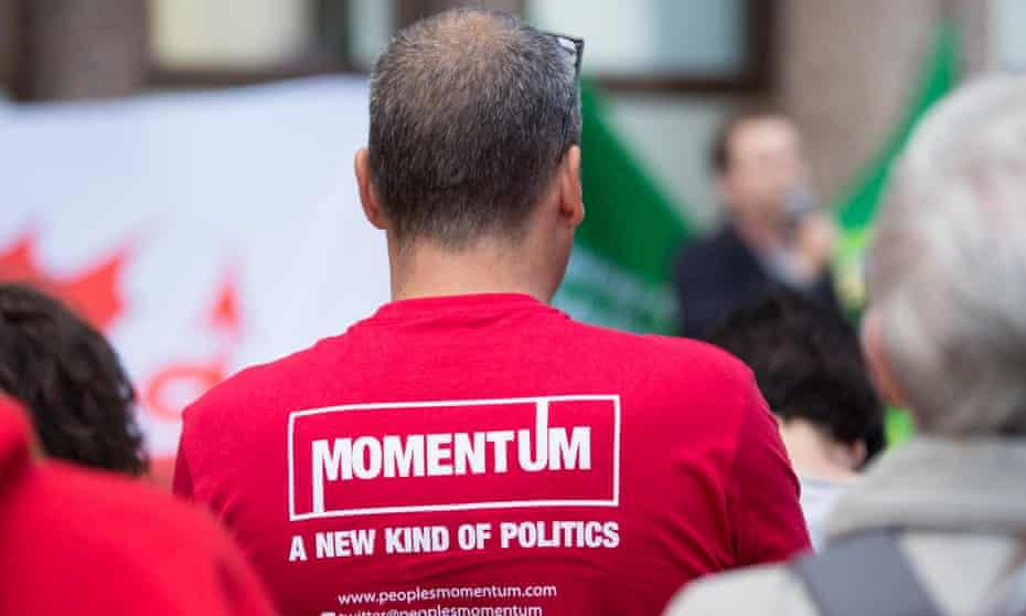 A Momentum campaigner in Cardiff