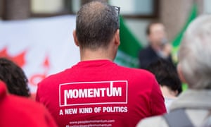 Campaigner wears Momentum T-shirt