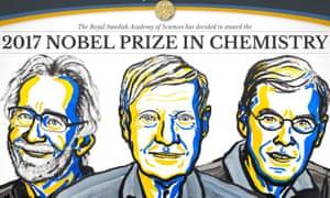 The winners of the Nobel chemistry prize: Jacques Dubochet, Joachim Frank and Richard Henderson.