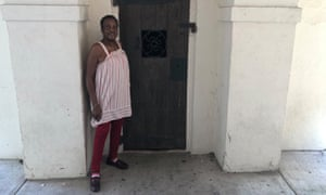 Jannette Graham stands in front of the jail, built in the 1840s, used to imprison African-Americans in Georgetown. It's now under the stairs to the entrance of the Rice Museum.