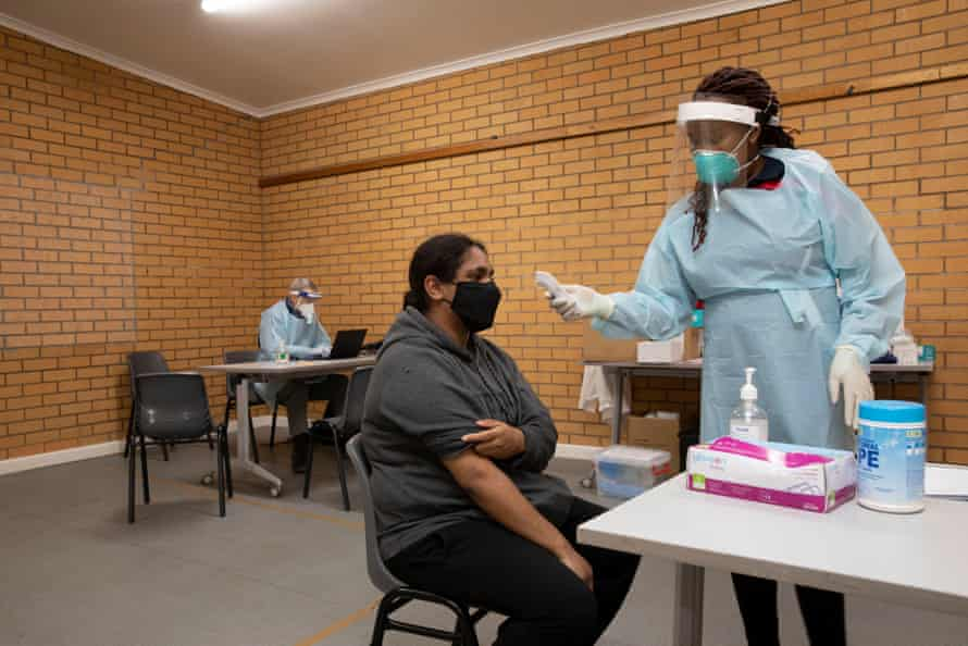 Katrina Hunter gets her second vaccination for COVID at the Flying Doctors clinic in Wilcannia.