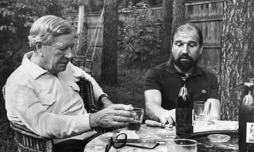 George Blake, right, and Kim Philby, another double agent who fled to the Soviet Union, in a garden near Moscow.
