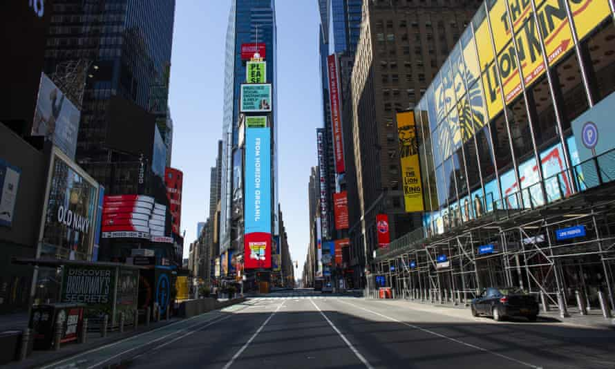 Times Square, one of the world landmarks that has emptied of traffic since the pandemic began
