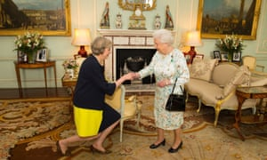 The Queen welcomes Theresa May at Buckingham Palace in 2016, inviting her to form a new government.